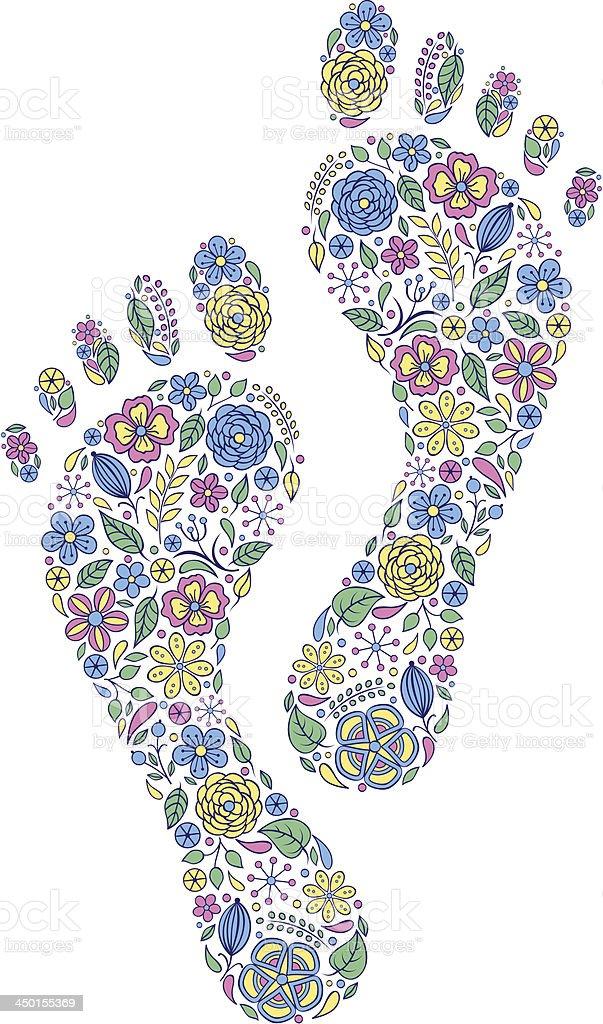 floral human footprints vector art illustration