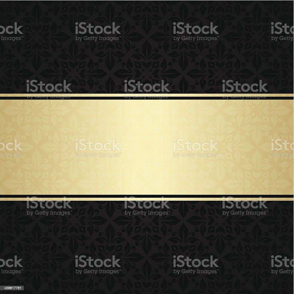Floral invitation card in gold and black vector art illustration