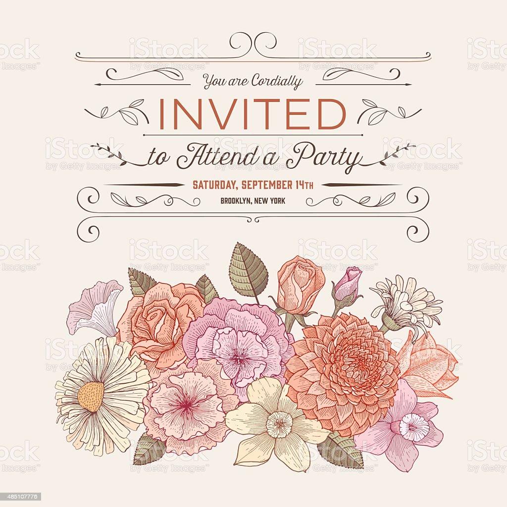 Floral invitation card vector art illustration