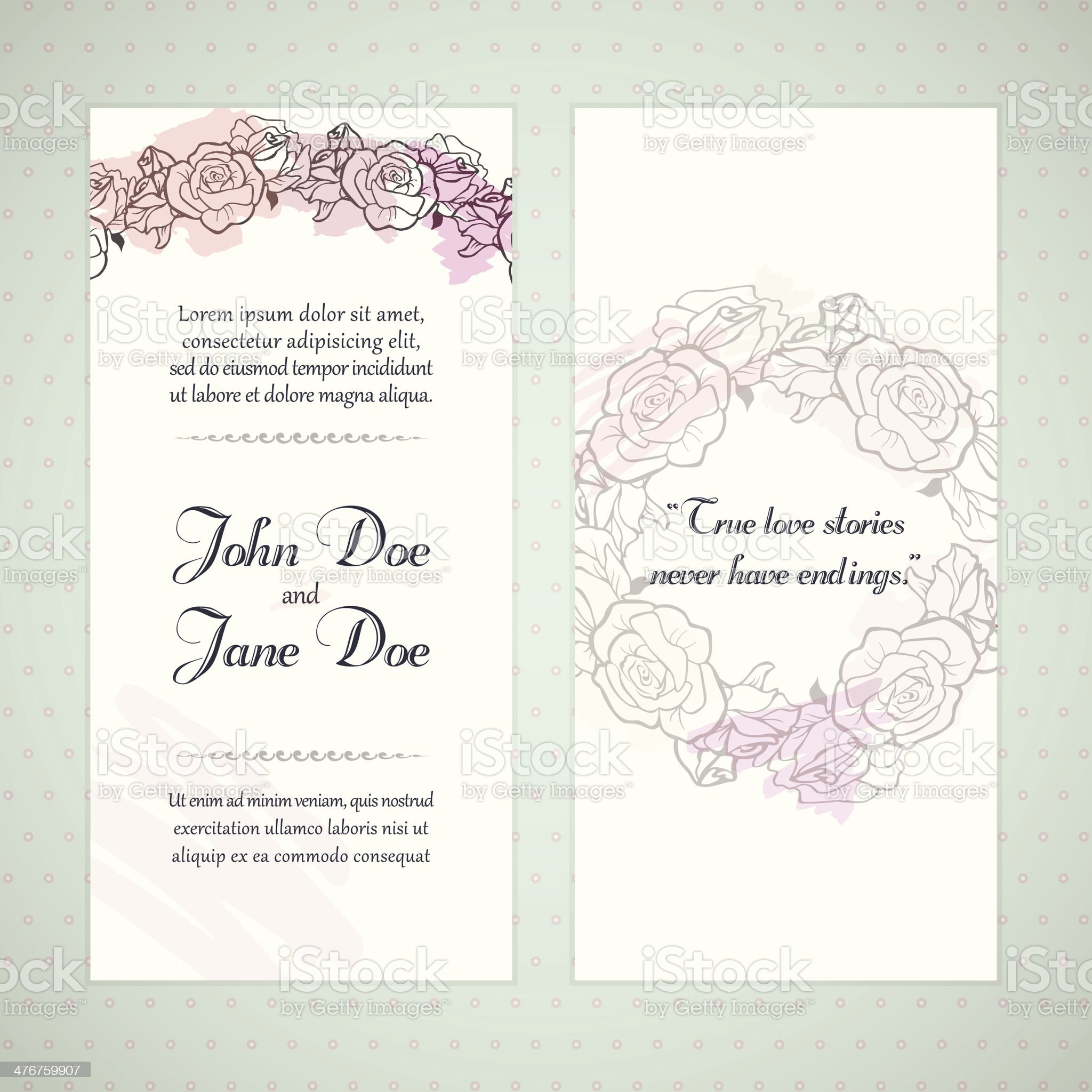 Floral invitation cards royalty-free stock vector art