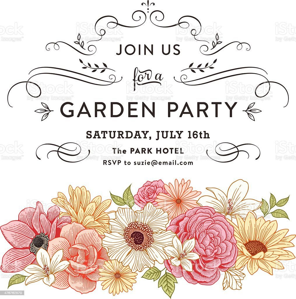 Floral Invitation vector art illustration
