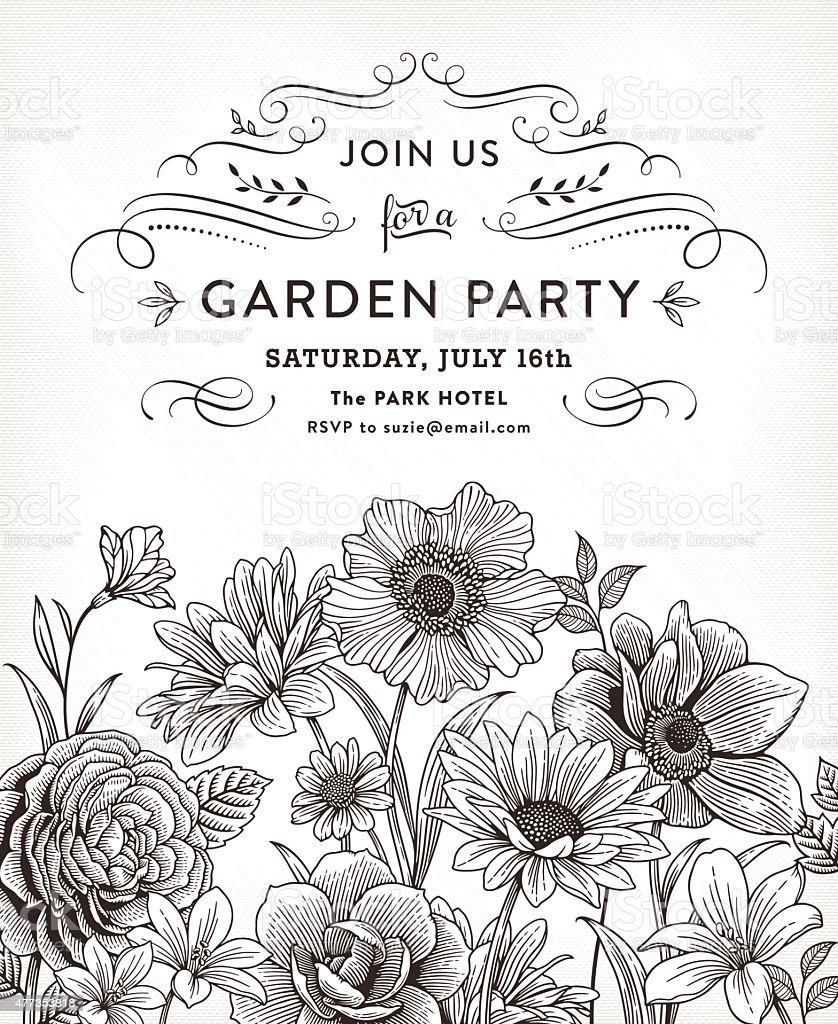 Floral Invitation vector art illustration