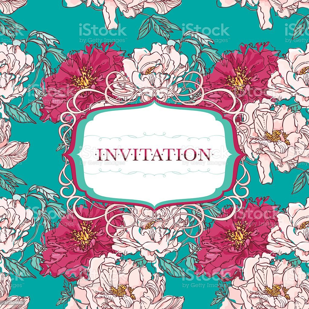 Floral Invitation with Peonies royalty-free stock vector art