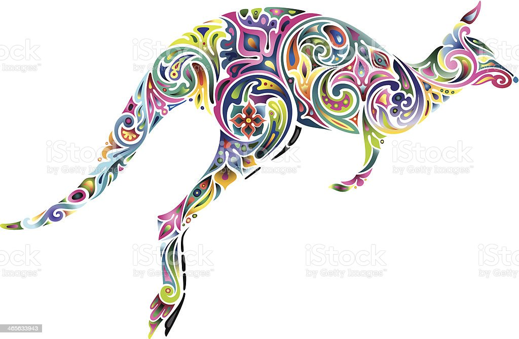 Floral kangaroo. royalty-free stock vector art