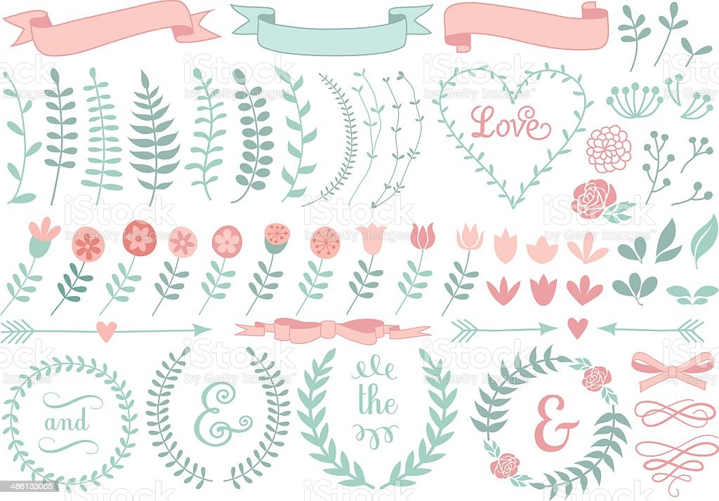 floral laurel wreath, vector set vector art illustration