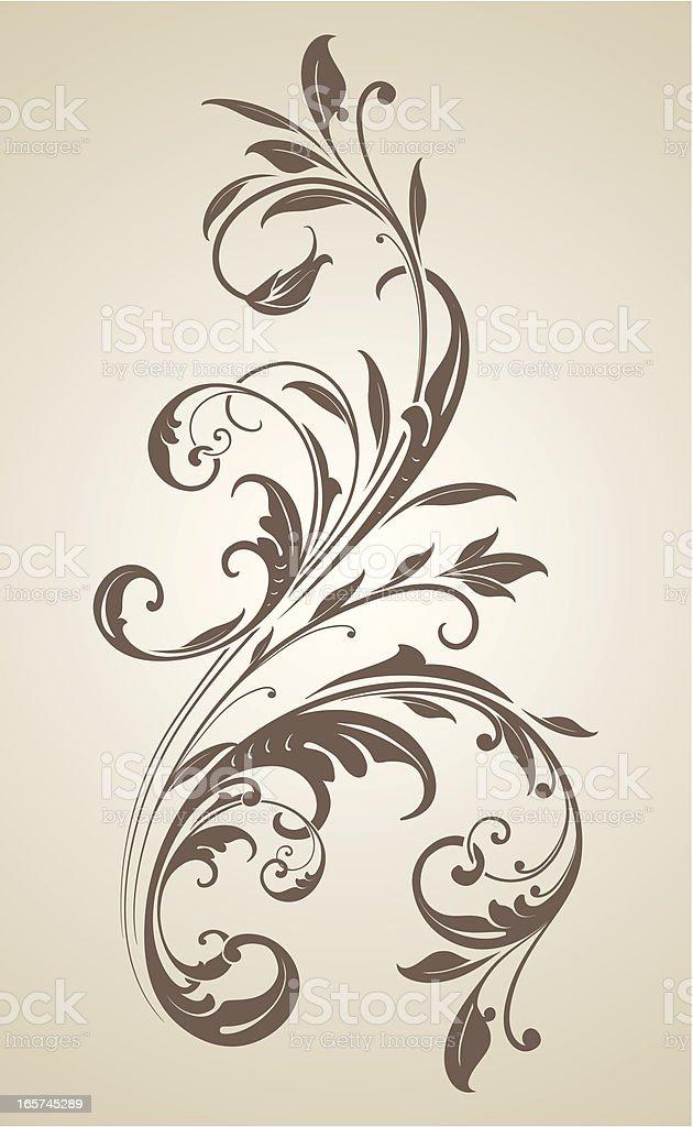 Floral Leaf Scrollwork ornament vector art illustration