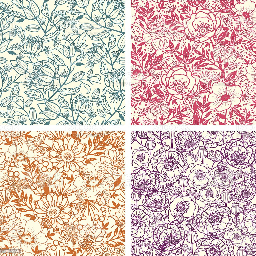 Floral Line Art Seamless Four Patterns Set royalty-free stock vector art