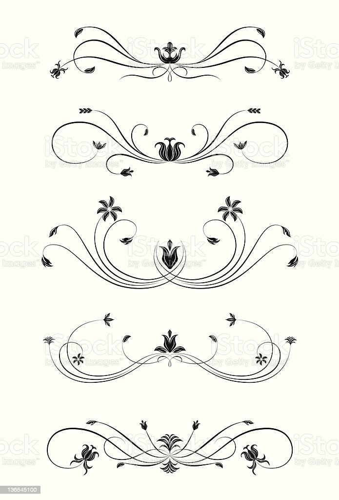 Floral line rules royalty-free stock vector art