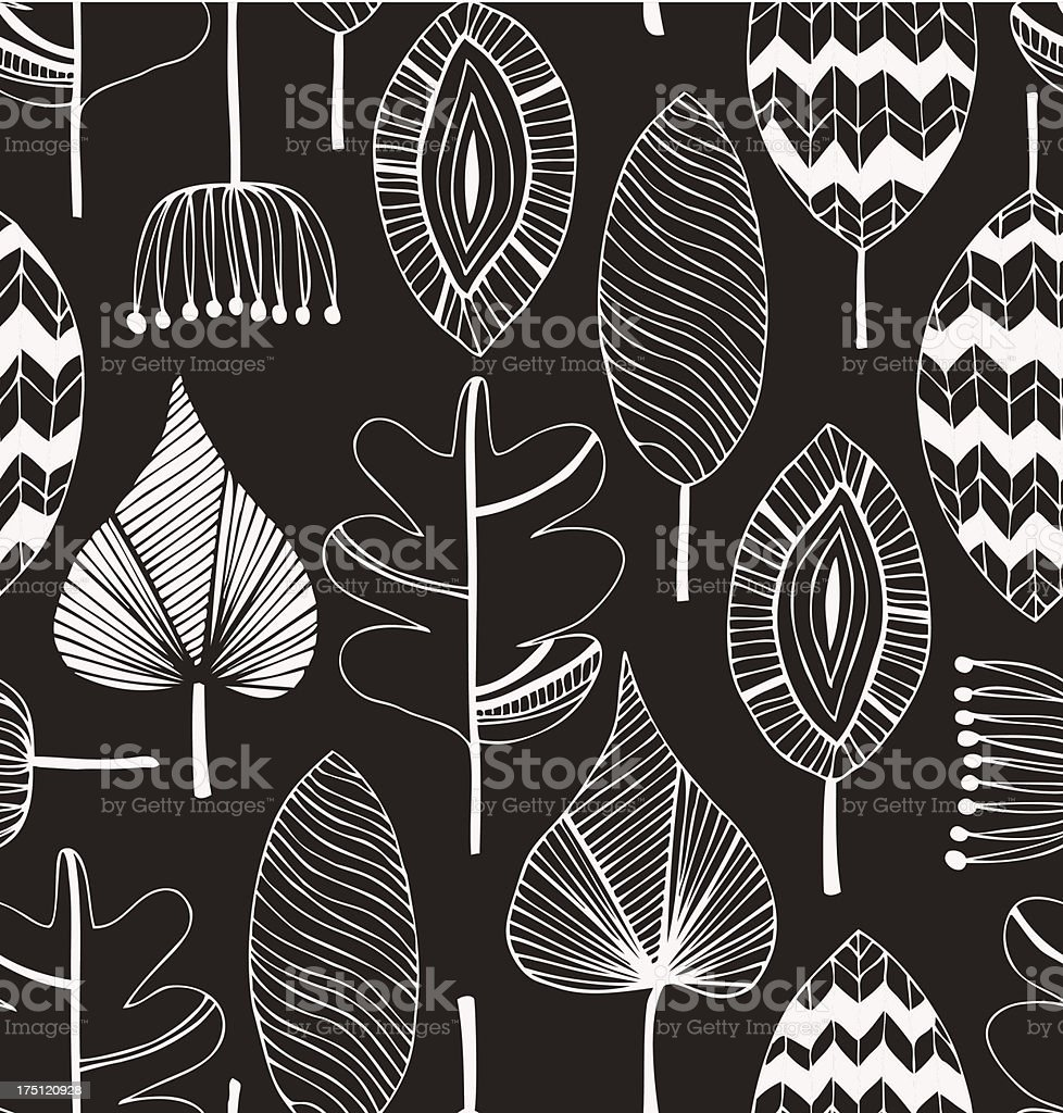 Floral linear seamless decorative pattern vector art illustration