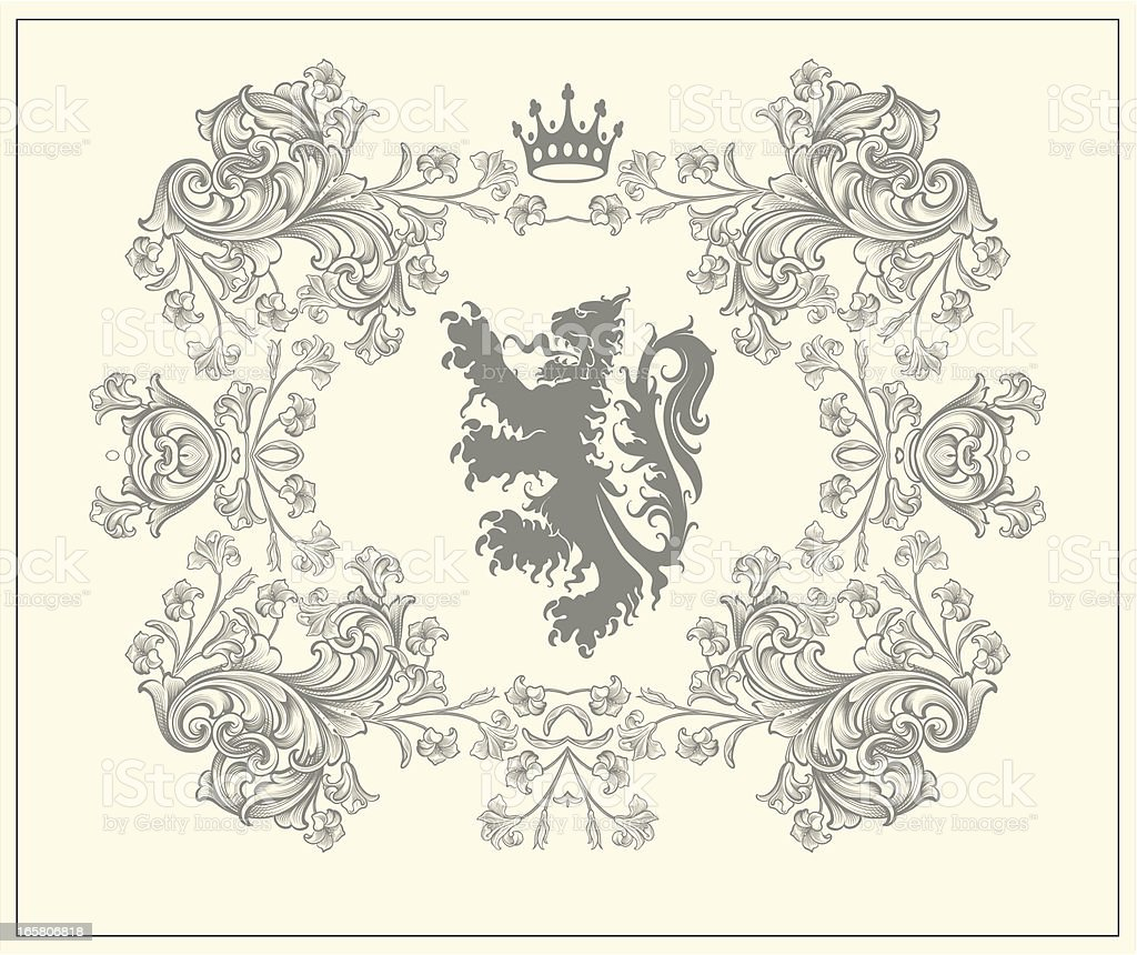 Floral Lion Coat of Arms engraving royalty-free stock vector art