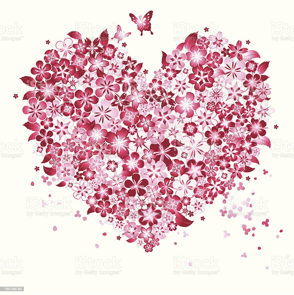 Floral Love Shape royalty-free stock vector art