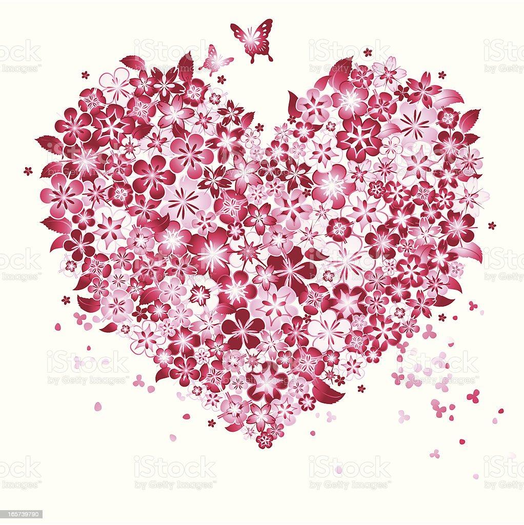 Floral Love Shape vector art illustration