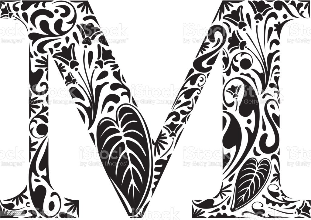 Floral M royalty-free stock vector art