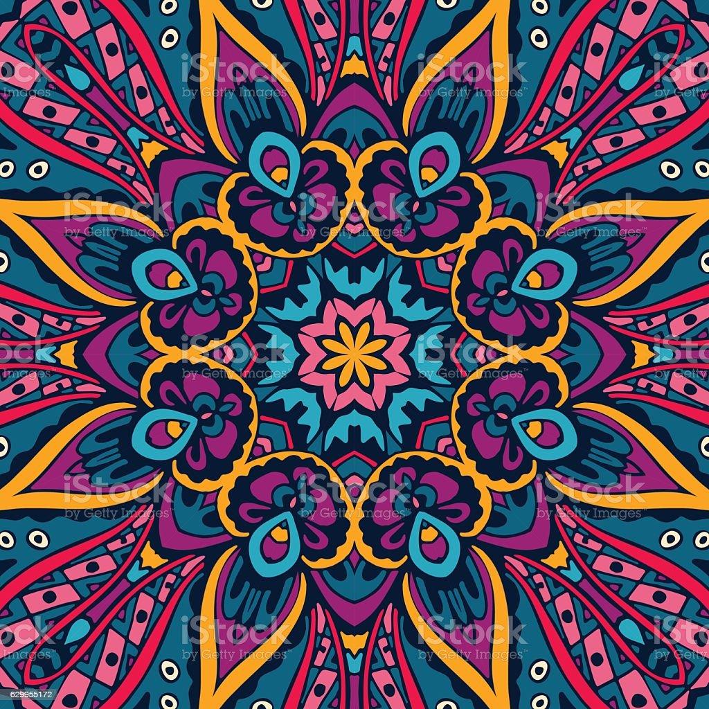 floral mandala seamless design vector art illustration