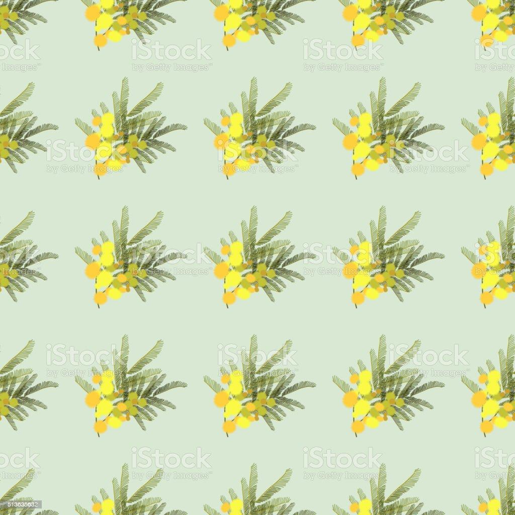 Floral  mimosa retro vintage background vector art illustration