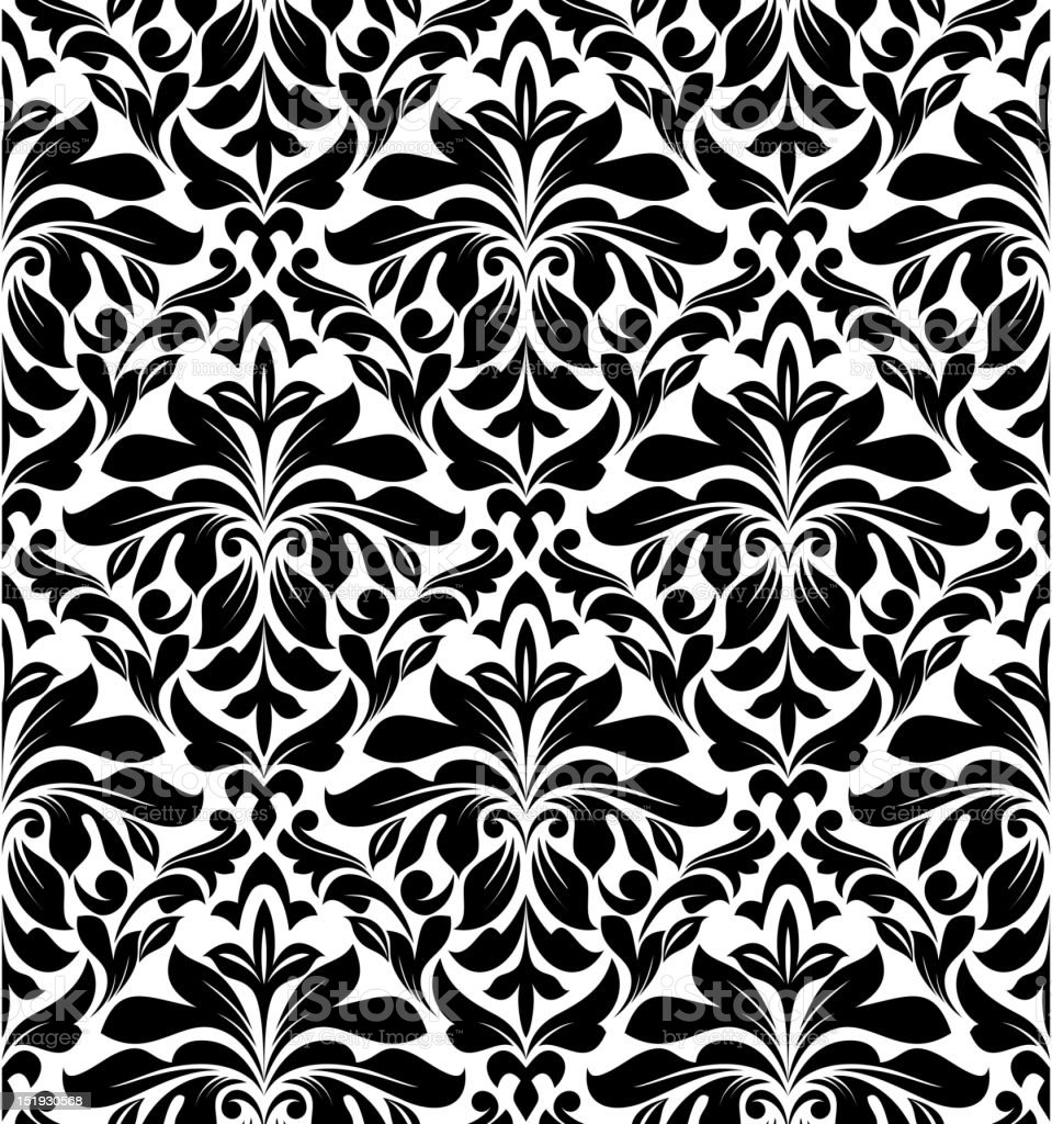 Floral monochrome seamless background vector art illustration