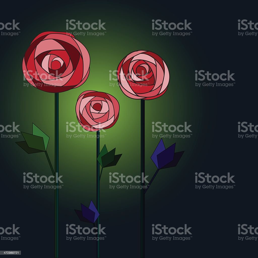 Floral mosaic background with three roses.. royalty-free stock vector art
