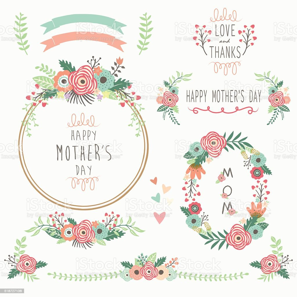 Floral Mother's Day Elements vector art illustration