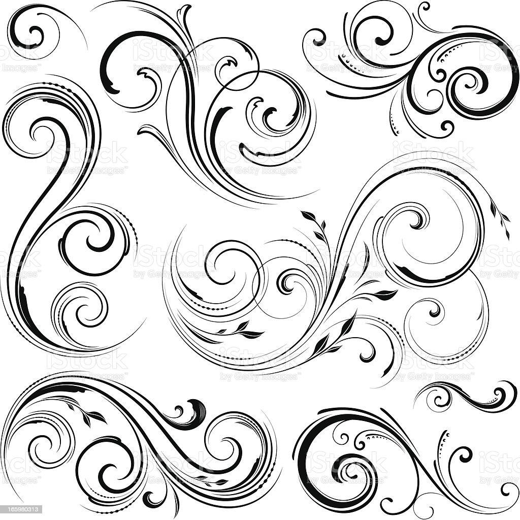 Floral motif designs vector art illustration