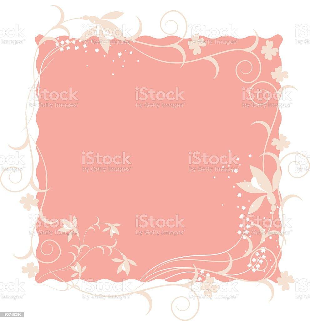Floral motif square frame background vector art illustration