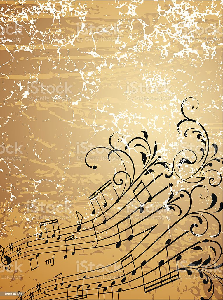 Floral musical notes royalty-free stock vector art