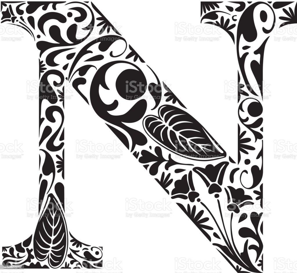 Floral N royalty-free stock vector art