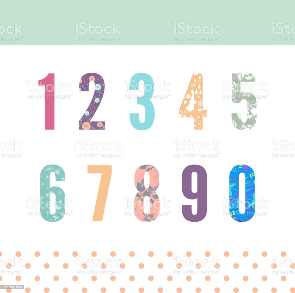 Floral numbers royalty-free stock vector art