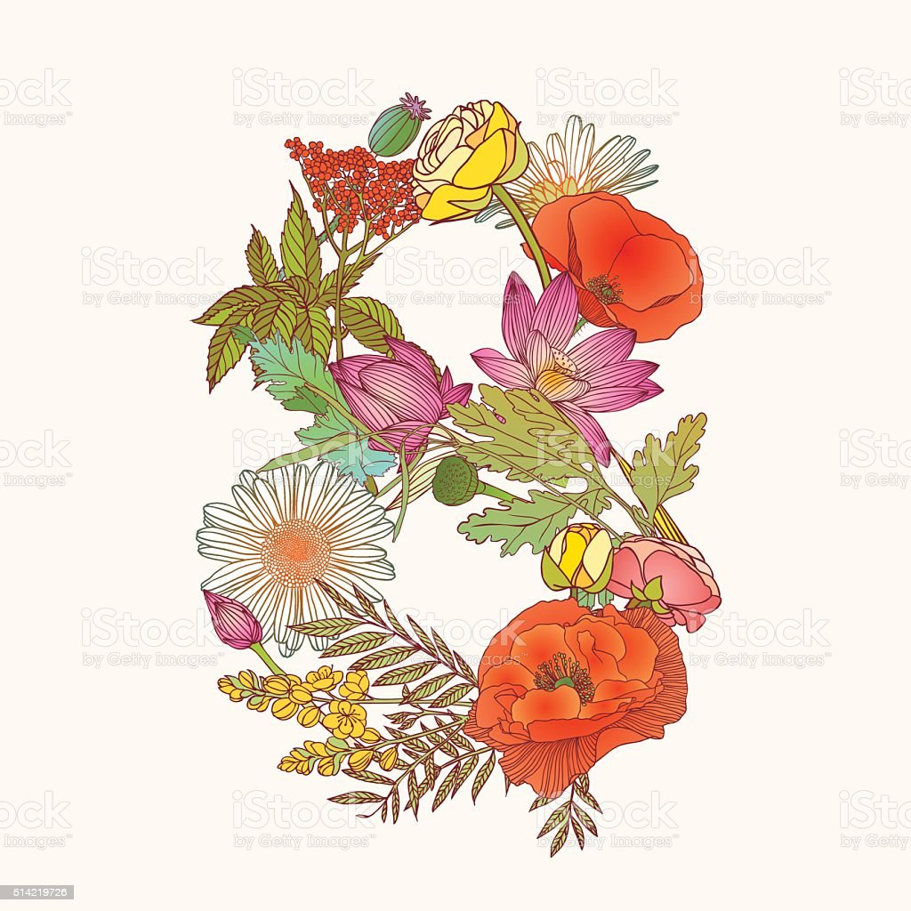 Floral numeral figure 8 vector art illustration