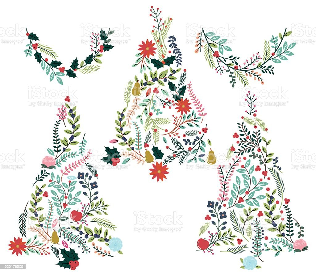 Floral or Botanical Christmas Trees and Bunting vector art illustration