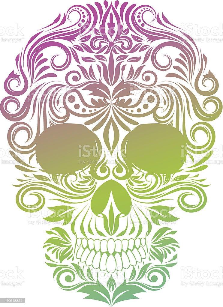 Floral Ornament Human Skull vector art illustration