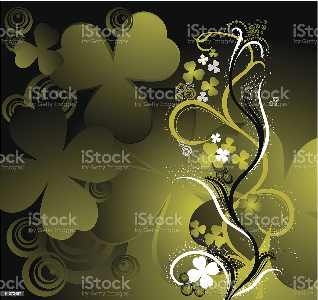 Floral ornament with clover royalty-free stock vector art