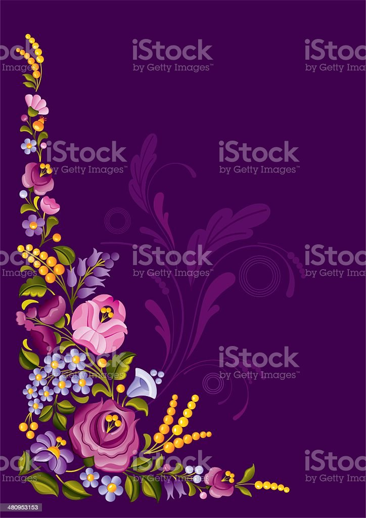 Floral ornament with copyspace vector art illustration