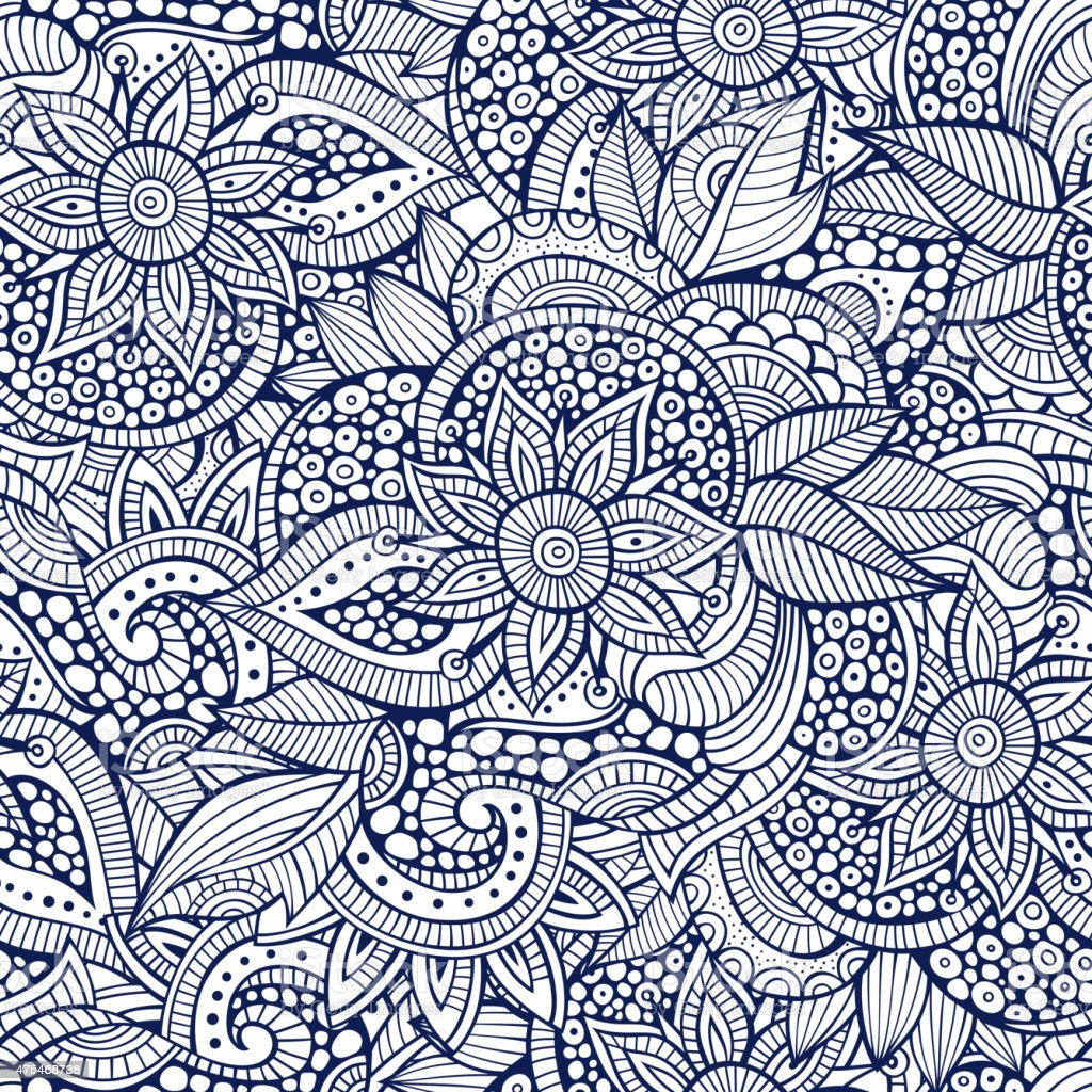 floral ornamental seamless pattern vector art illustration