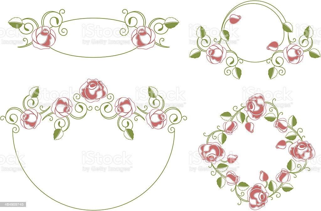 Цветочные орнаменты оправа и Виньетка векторная иллюстрация