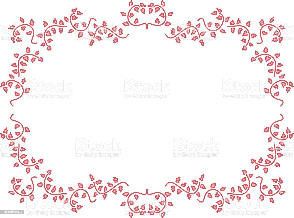 floral ornaments, red leafs in picture border shape vector art illustration