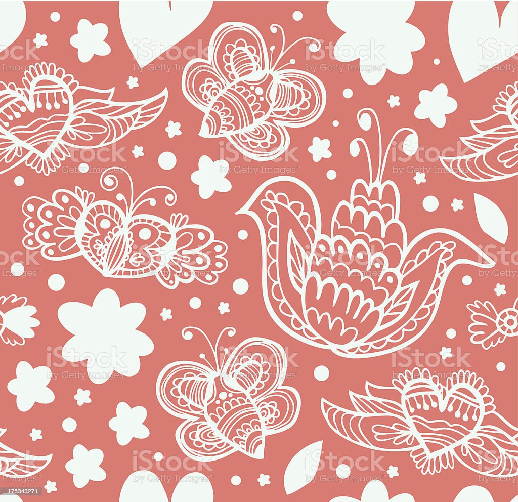 Floral ornate pattern with many cute details royalty-free stock vector art