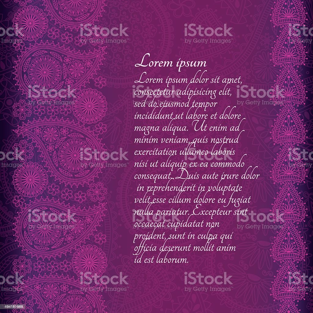 Floral  paisley background with place for your text. vector art illustration