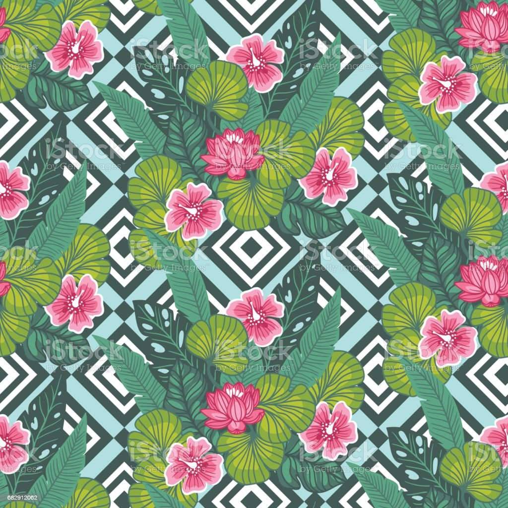 Floral paradise hand drawn tropic hibiscus flower with palm leaves floral paradise hand drawn tropic hibiscus flower with palm leaves on the geometric background seamless dhlflorist Image collections