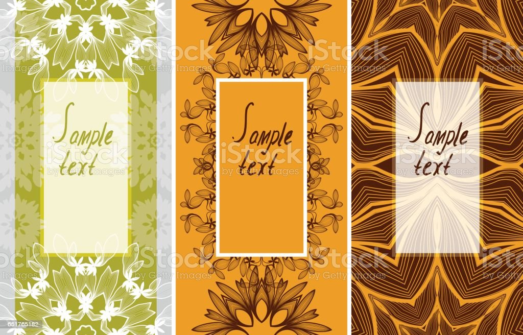 Floral pattern - background for text. Three types of postcards vector art illustration