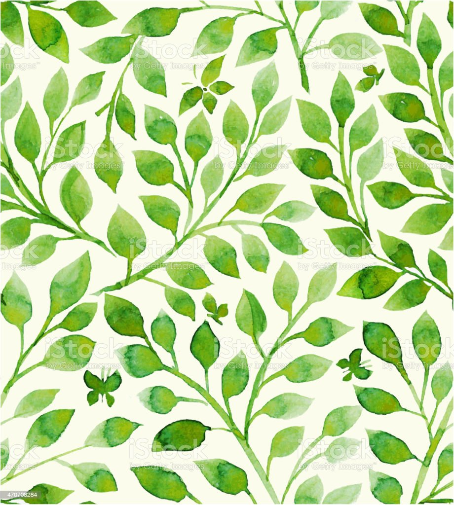Floral pattern filled with green leaves vector art illustration