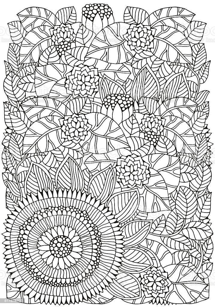 Floral pattern for coloring book. A4 size. vector art illustration