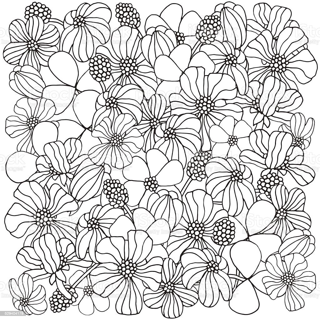 Floral pattern for coloring book. vector art illustration