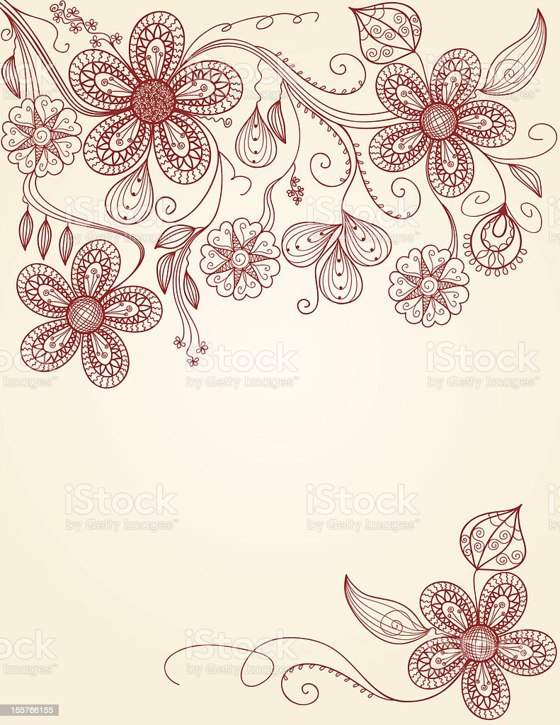 floral pattern - hand drawing illustration royalty-free stock vector art