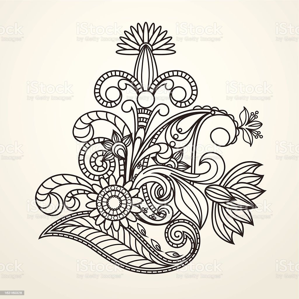 floral pattern hand drawing illustration royalty-free stock vector art