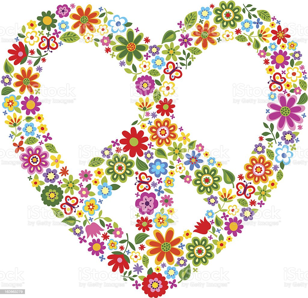 floral pattern heart peace symbol vector art illustration