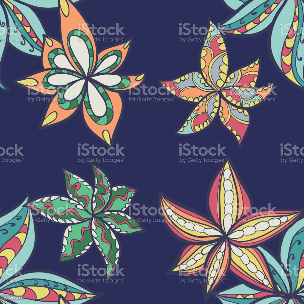 floral pattern with colorful  blooming flowers royalty-free stock vector art