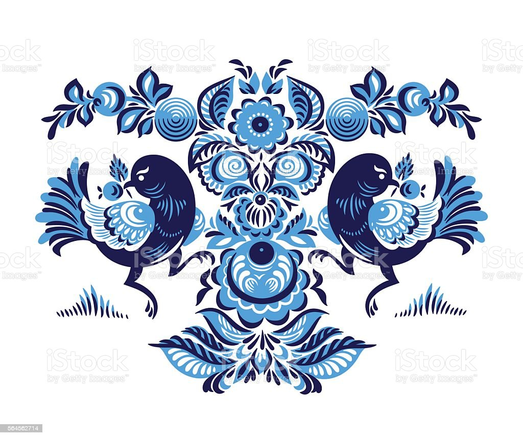 Floral pattern with two birds in Gorodets style vector art illustration