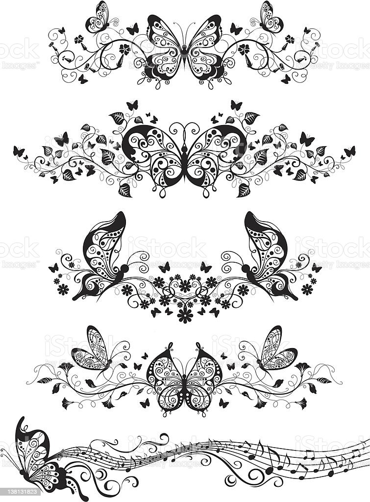 Floral patterns with butterflies royalty-free stock vector art