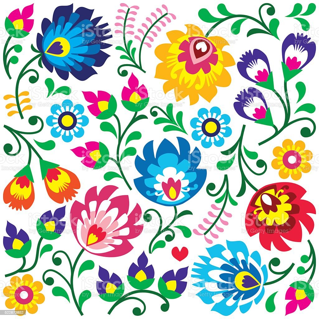 Floral Polish folk art pattern in square vector art illustration