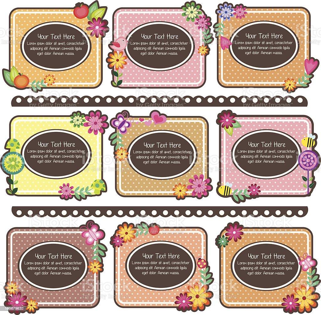 floral polka dots frames design royalty-free stock vector art